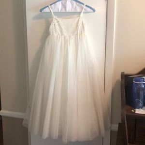 Girl's beautiful lace and tulle dress soft white.